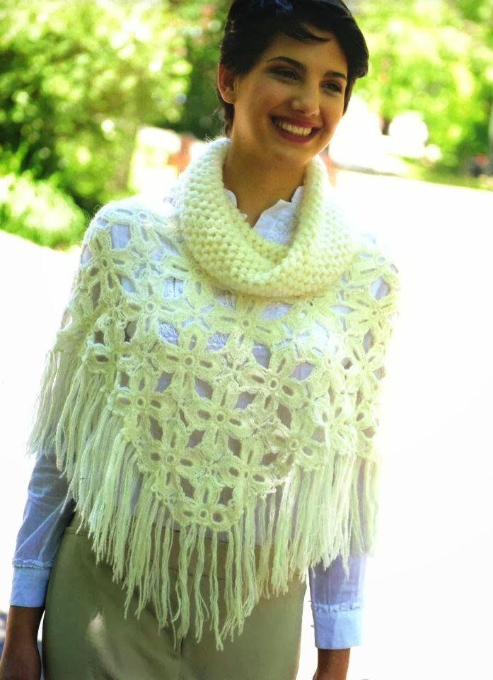Poncho Flor 4 Petalos con Cuello Instrucciones - Patrones Crochet ...