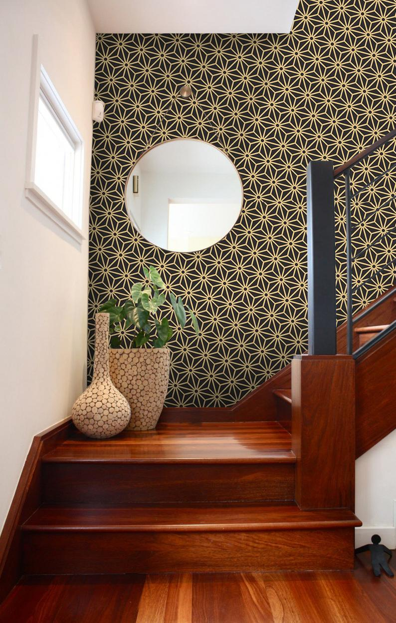 Antique palette black and gold diagonal japanese removable wallpaper black and golden wall mural temporary #395