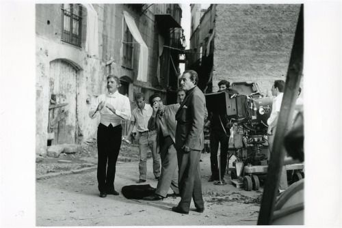 Burt Lancaster with director Luchino Visconti on the set of Il Gattopardo, 1963. Photo by Giovan Battista Poletto