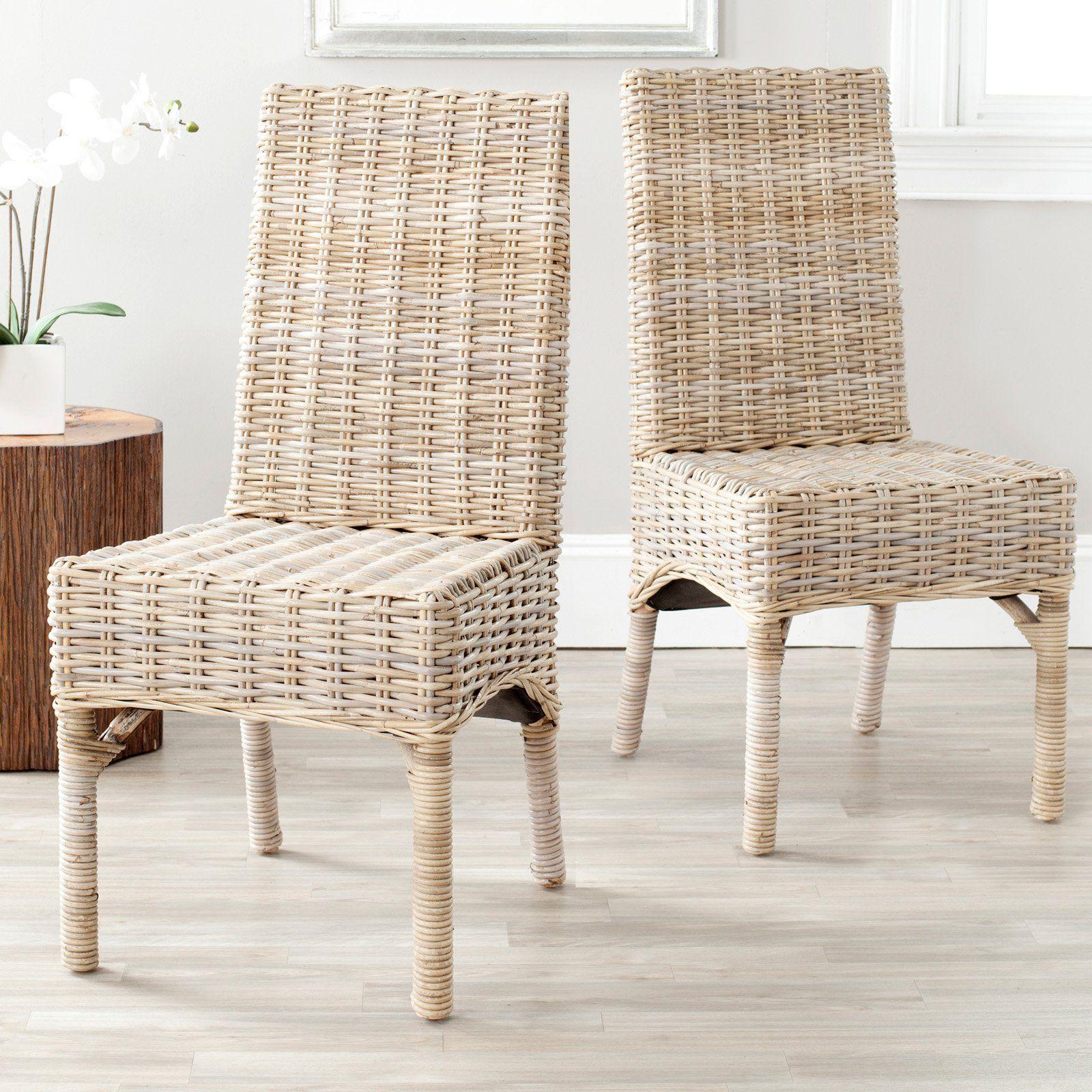 Safavieh Beacon Wicker Dining Side Chairs Set Of 2 Wicker
