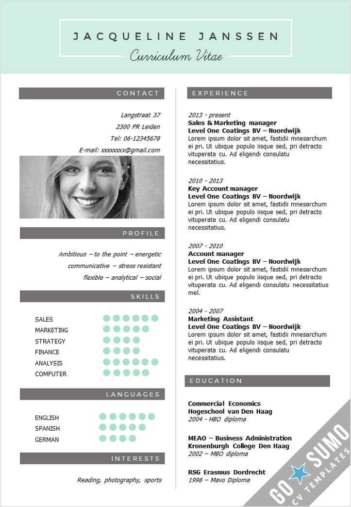 Creative cv template in Word and PowerPoint 3 color versions in 1 - go resume
