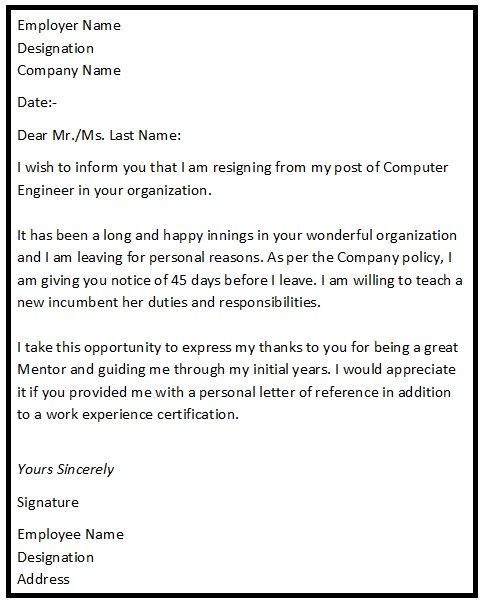 Resignation Letter Format With Reason Describing The