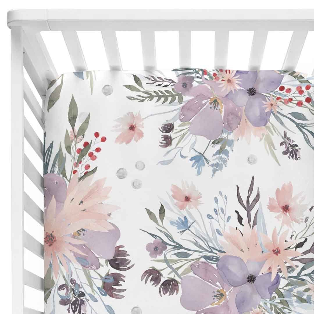 Photo of Crib Sheet – Rowan's Dusty Purple Bouquet~