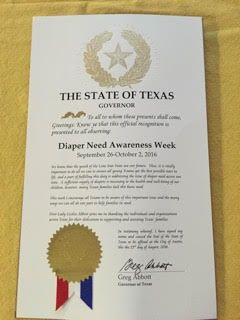 TEXAS - Governor Greg Abbott's proclamation recognizing Diaper Need Awareness Week (Sep. 26 - Oct. 2, 2016) #DiaperNeed www.diaperneed.org