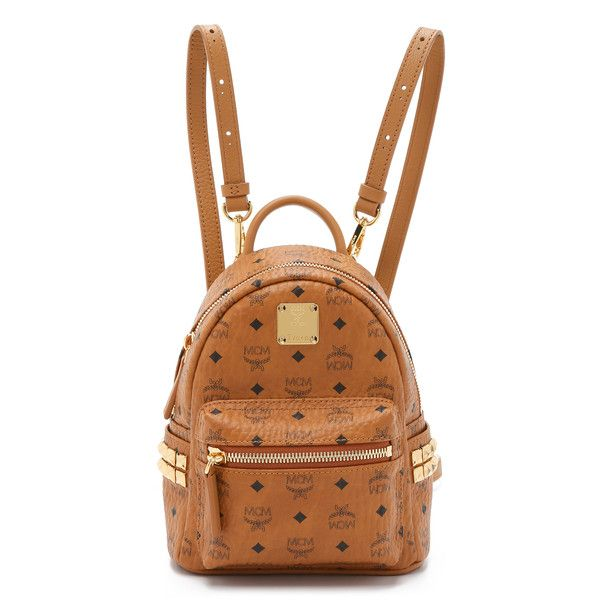 Mcm Side Stud Baby Stark Backpack 8 285 Zar Liked On Polyvore Featuring Bags Backpacks Cognac Decorating