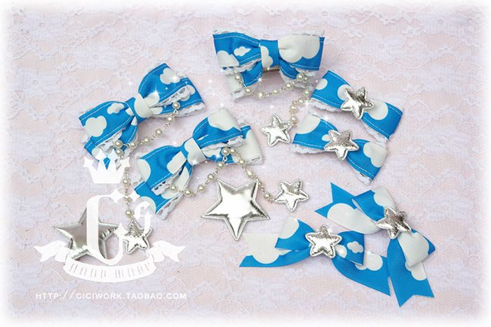 ♥ Cici hand-made things house ♥ Sweet Lolita Candy Star X Small clouds hairpin qualified small package - Taobao