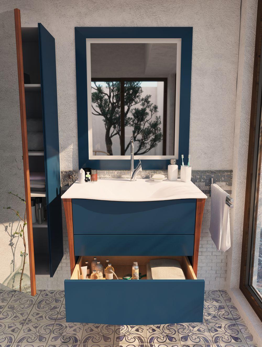 Meuble salle de bain bleu BELLAGIO| VM #tiroir #mer | Salle ...