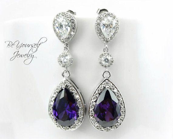 Amethyst Purple Bridal Earrings Sparkly Cubic Zirconia Teardrop Earring Plum Dark Wedding Jewelry Sterling Silver