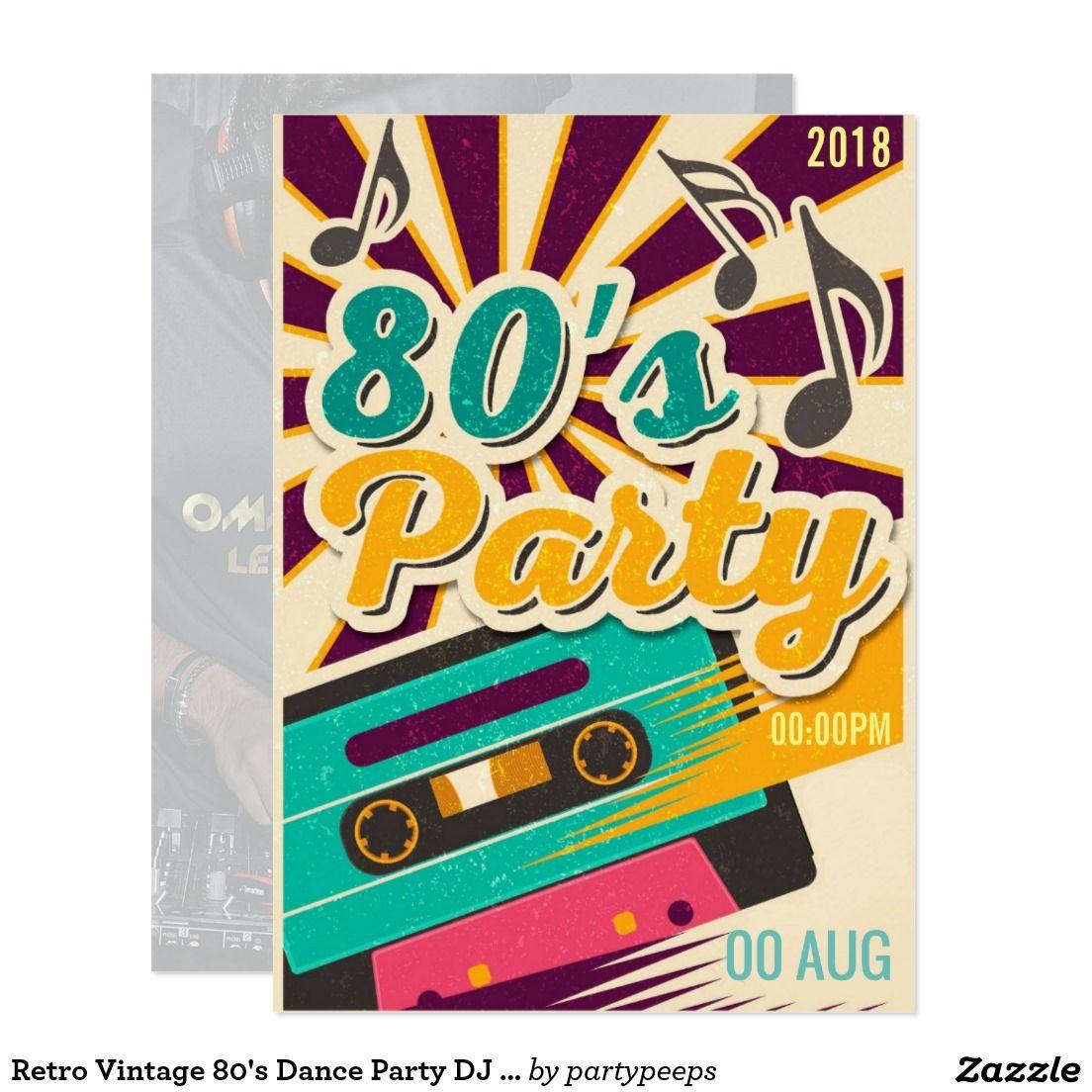 retro vintage 80 s dance party dj club invitation dj party
