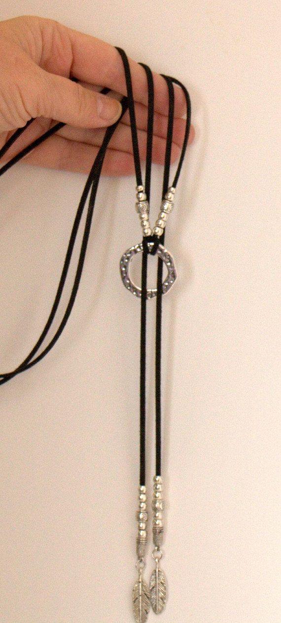 Long Women Necklace Ring Boho bohemian hippy Street style Gift for Her, Wrap Choker Necklace Slide Choker Boho style