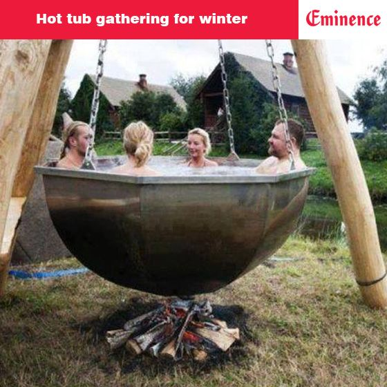 A favorite winter pastime for many... hot tub gatherings are perfect to escape from the #winter chill & socialize..