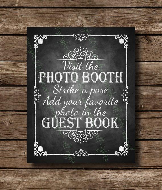 Photobooth Guestbook Strike A Pose Printable Wedding Chalkboard