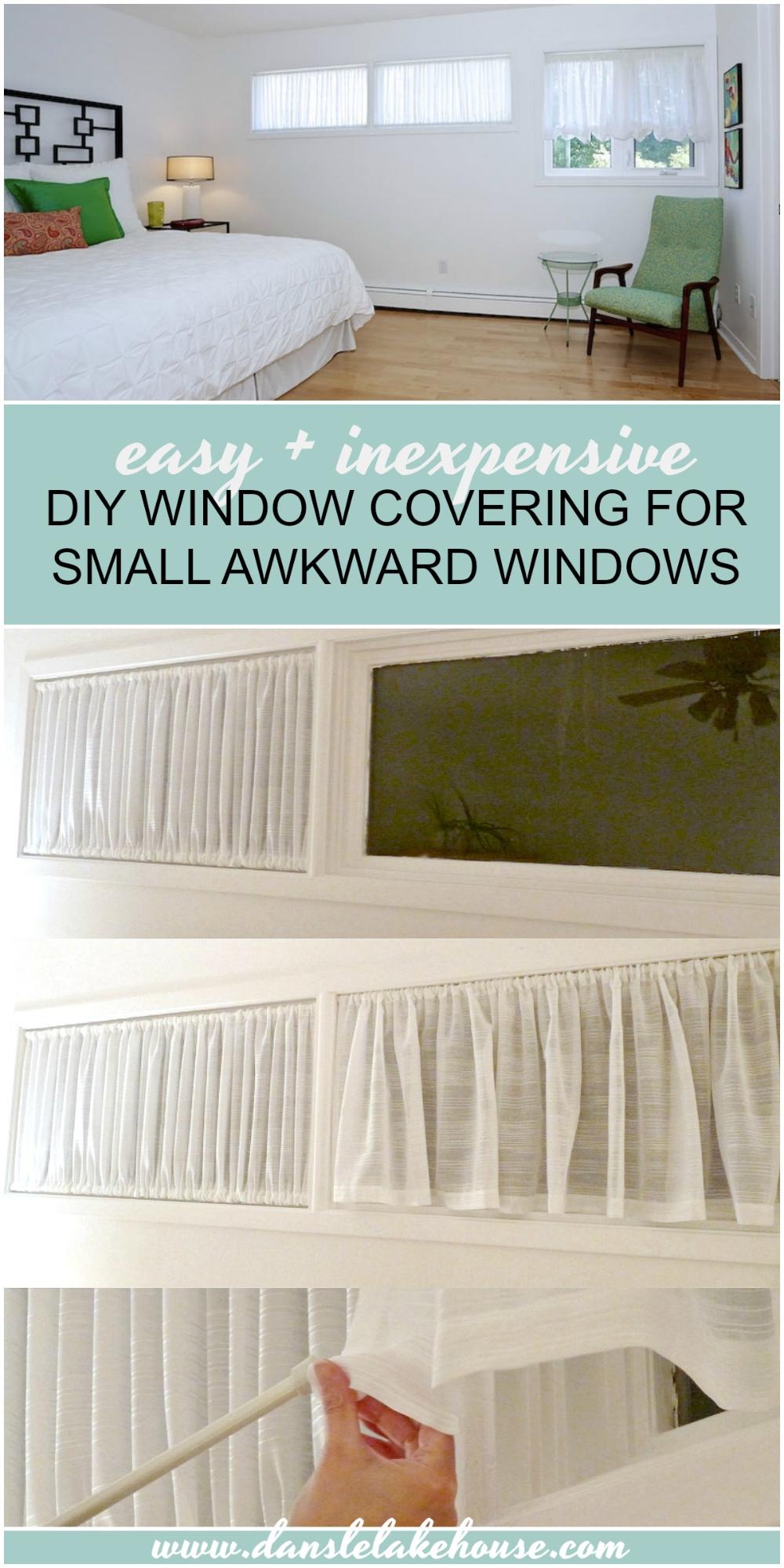 DIY Window Covering for Awkward Windows   Ruched Curtain DIY ...