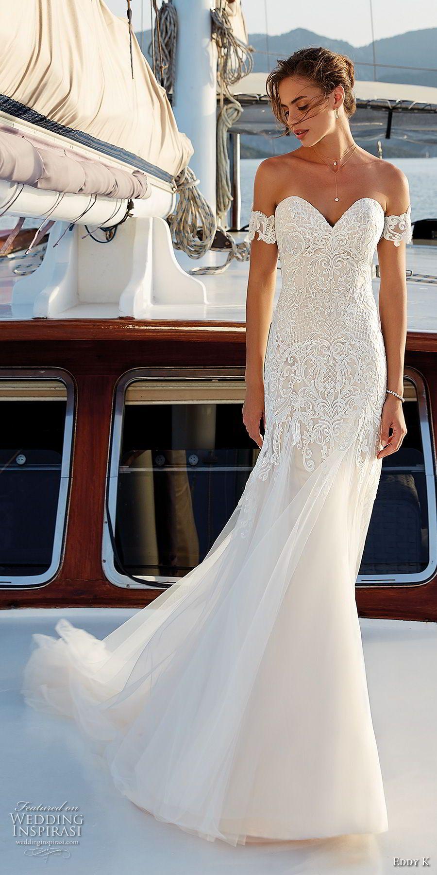 26264c587032 eddy k 2018 bridal off the shoulder sweetheart neckline heavily embellished  bodice fit and flare wedding dress open back chapel train (22) mv -- Eddy K.  ...