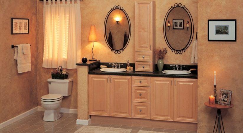 Raised Panel Natural Maple Bathroom Cabinets Bathroom Wall
