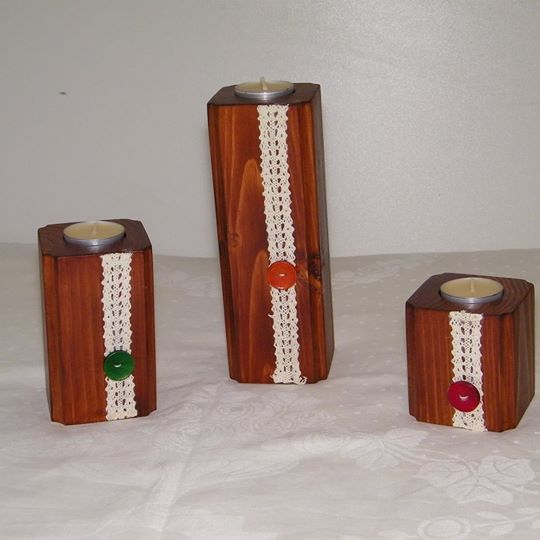Wooden candle holder: 20 cm + 12 cm + 8cm