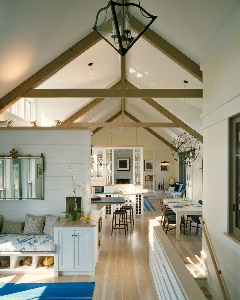 Stokes Lighting Beach Style Family Room Also Cathedral Ceiling Clerestory Windows Exposed Trusses Great Ro Exposed Trusses Bedroom Ceiling Light Ship Lap Walls