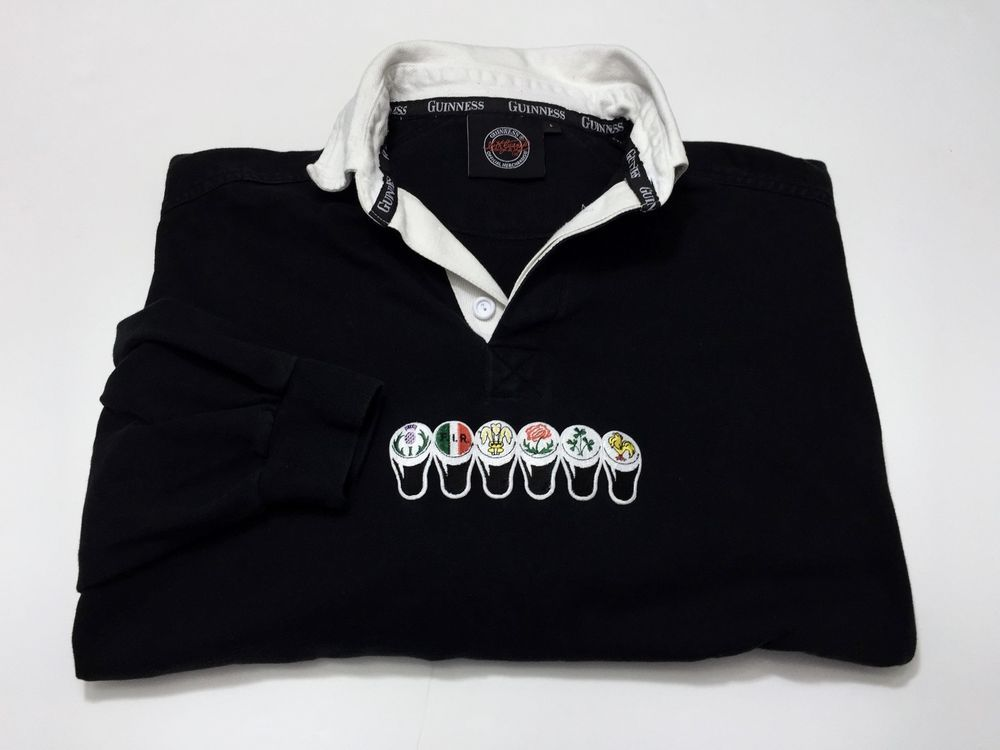 Guinness L Long Sleeve Cotton Polo Rugby Men's Shirt Large Beer Pint #Guinness #PoloRugby
