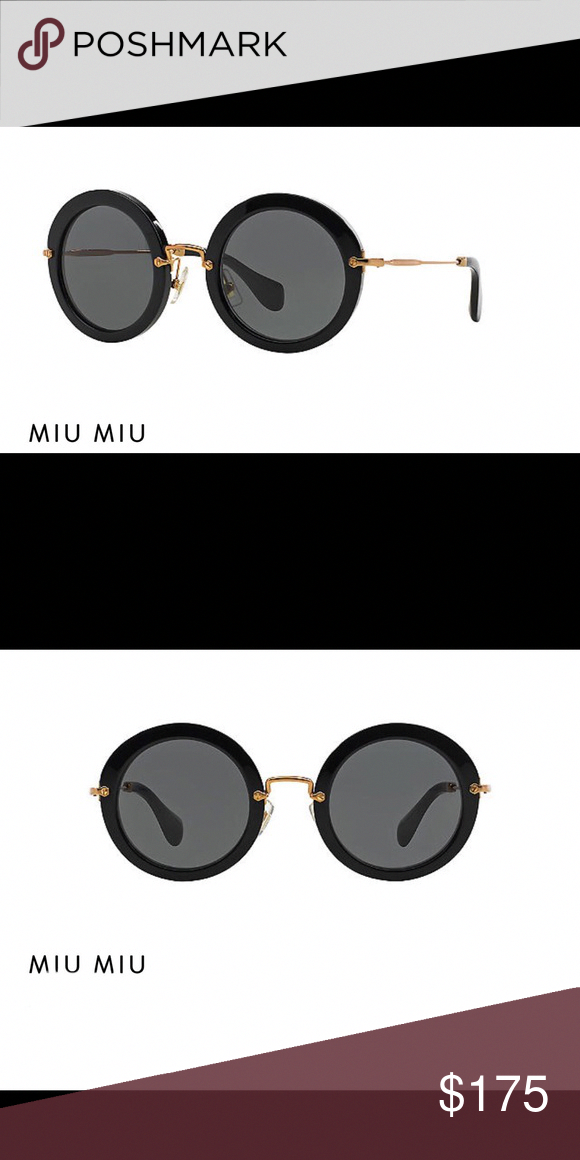 b4f93dcf054e Miu Miu 49mm Noir Retro Round sunglasses Miu Miu NOIR SUNGLASSES Noir round  black frames–