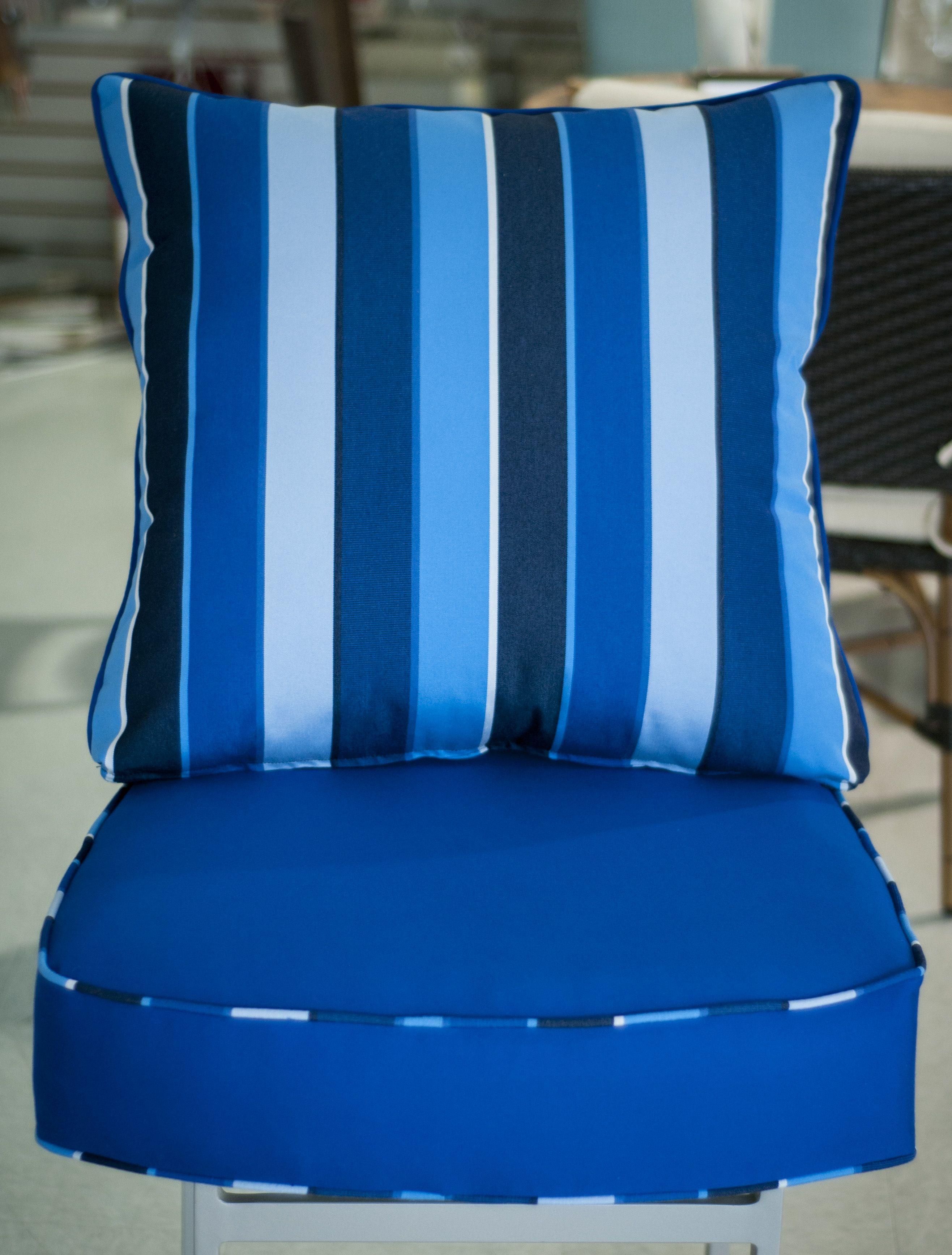 custom chair cushion in Sunbrella Canvas True Blue, with a Milano ...