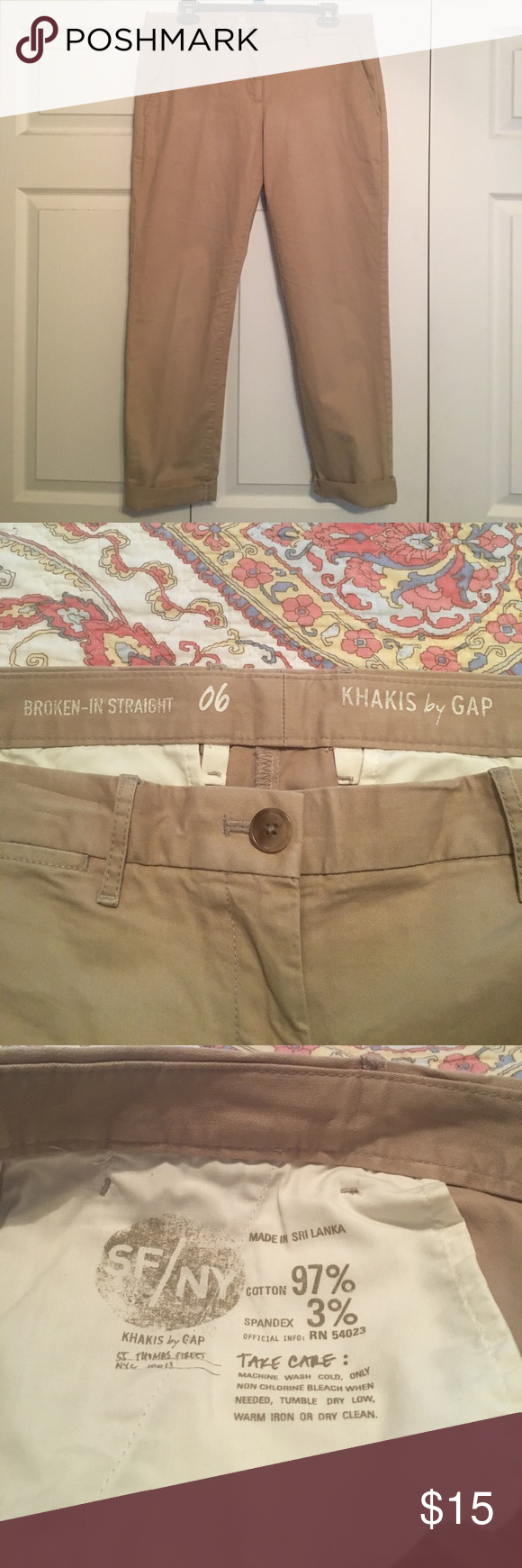GAP Khakis, Broken-In Straight Size 6, excellent condition GAP Pants Straight Leg