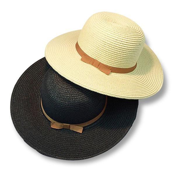 FuzWeb Summer fashion concise sun hats for women bowknot wide brim straw hat  girl round 7e46ed919015