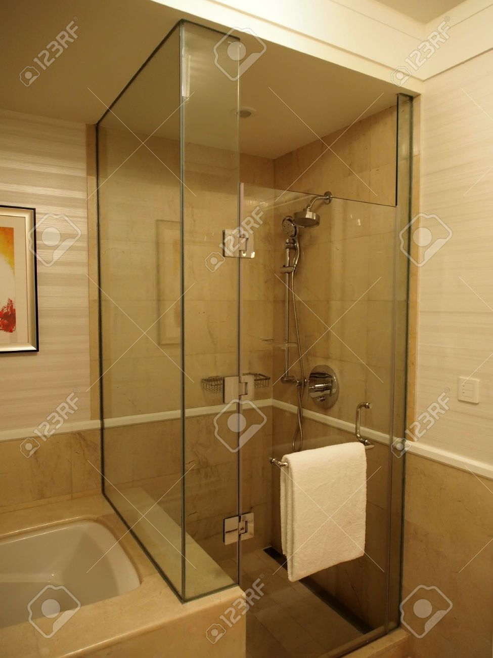 Picture of glass enclosed shower stall in bathroom stock photo, images and  stock photography.
