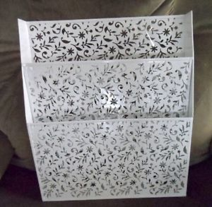 Lovely White Metal Floral Magazine Wall Hanging File Folder Holder Organizer Hanging File Folders Folder Holder Magazine Wall