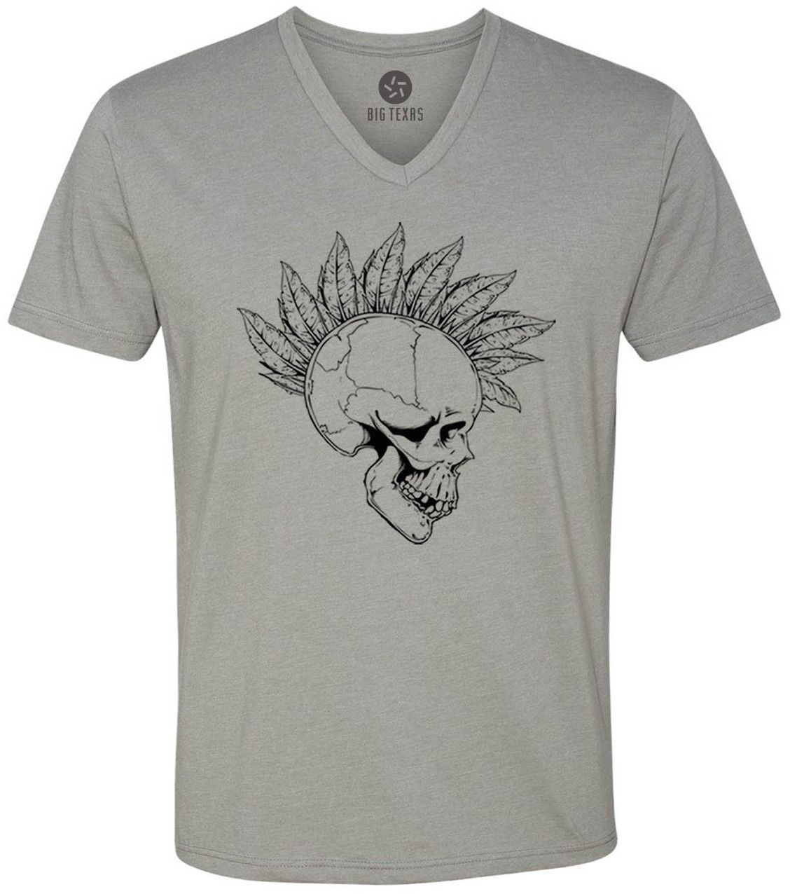 Feather Mohawk Skull (Black) Short-Sleeve V-Neck T-Shirt