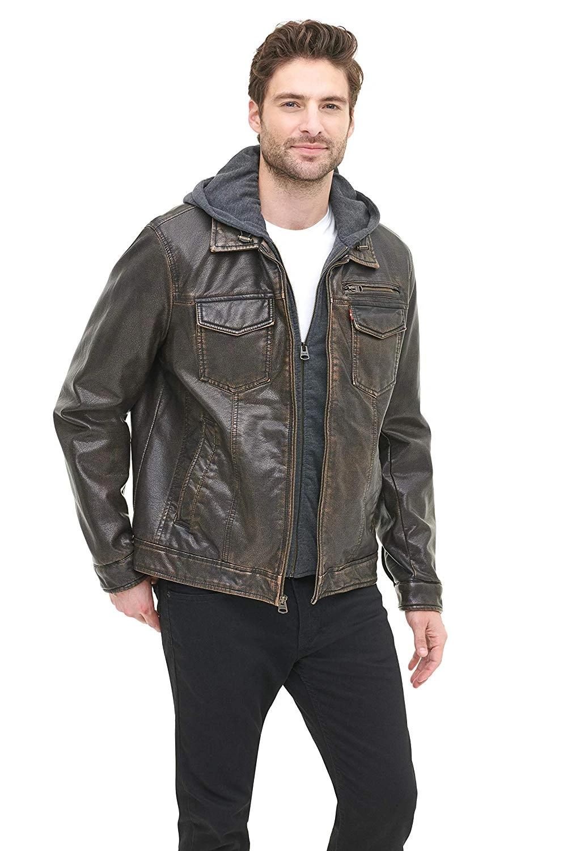 Levi S Men S Faux Leather Two Pocket Trucker Hoodie Jacket Leather Jacket Men Lambskin Leather Jacket Jackets [ 1500 x 1000 Pixel ]