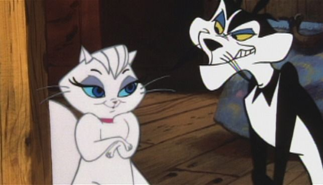 Mewsette (voiced by Judy Garland) is taken in by the sinister Meowrice (voiced by Paul Frees) when she arrives in Paris in Gay Purr-ee (1962).