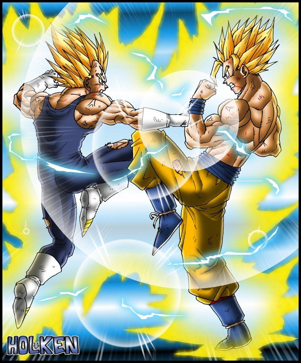Majin Vegeta Vs Goku By Dbzwarrior On Deviantart Dragonball Z