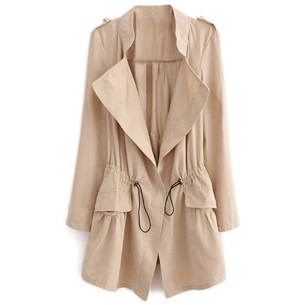 Thin Lapel Selt-tied Elastic Cream Suede Trench Coat (£24) ❤ liked on Polyvore featuring outerwear, coats, jackets, beige trench coat, slim coat, slim fit coat, suede coat and pleated coat