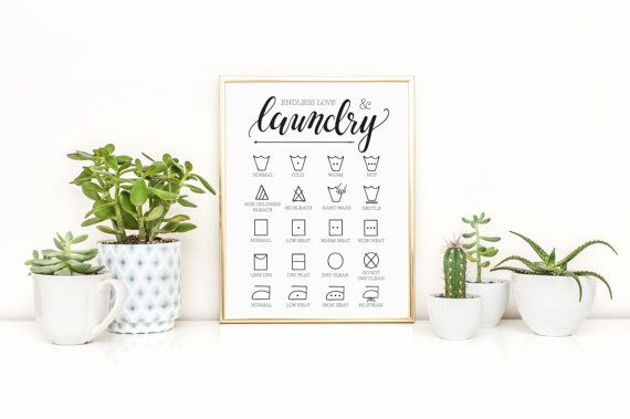 Endless Love Laundry Art Print Laundry Symbol Guide Print
