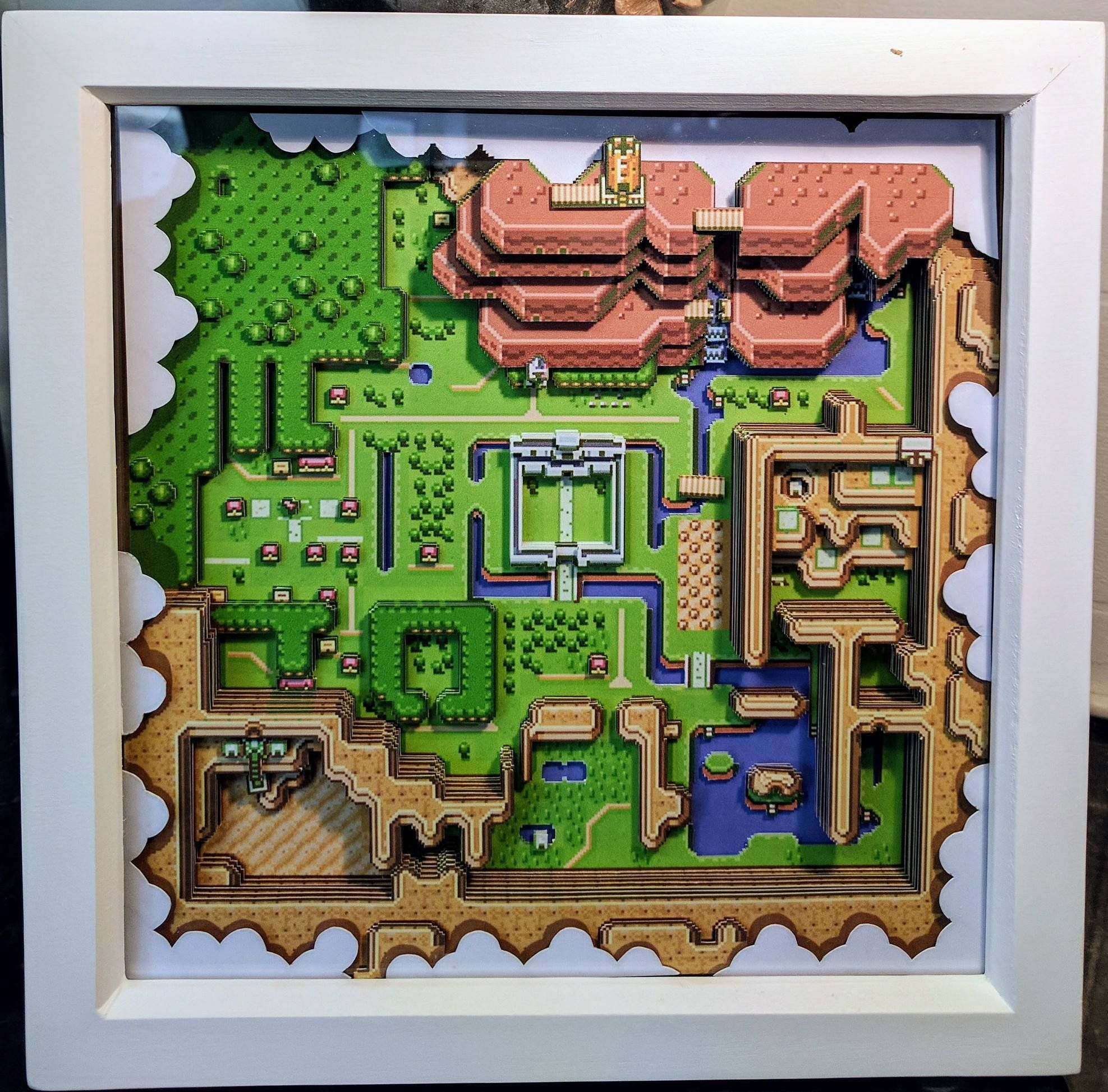 Legend Of Zelda A Link To The Past Light Map 3d Etsy Gaming Wall Art Shadow Box Zelda Map Ideas for zelda link to past map