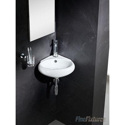 Fine Fixtures Modern Vitreous Round Corner Wall Hung Sink Corner Sink Bathroom Bathroom Sink Sink