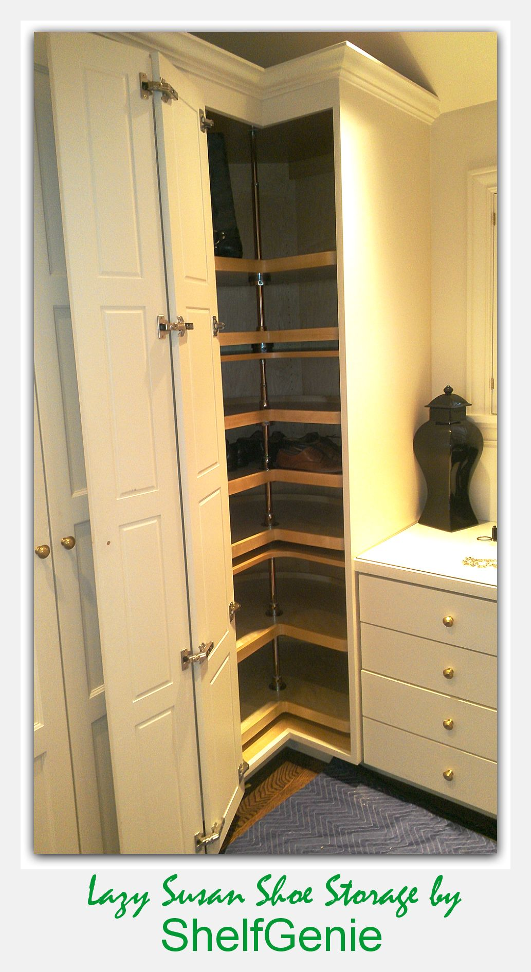 floor to ceiling corner lazy susan cabinet corner closet from shelfgenie of seattle pull shoe storage