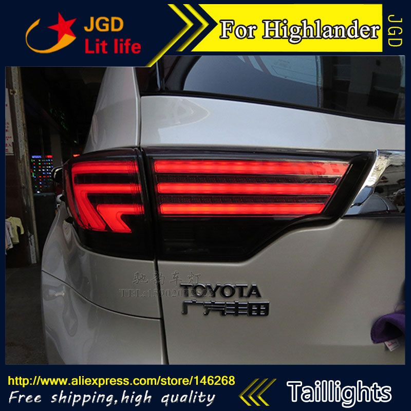 Car Styling Tail Lights For Toyota Highlander 2015 2016 Led Tail Lamp Rear Trunk Lamp Cover Drl Signal Brake Reverse Lamp Cover Toyota Highlander Tail Light