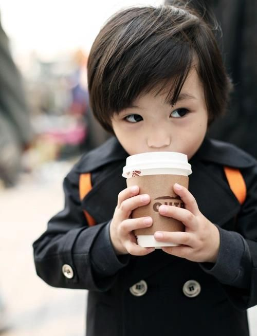 this kid is so cute. You better believe my kid will have this awesome of a haircut complete with hipster coat and coffee cup :)