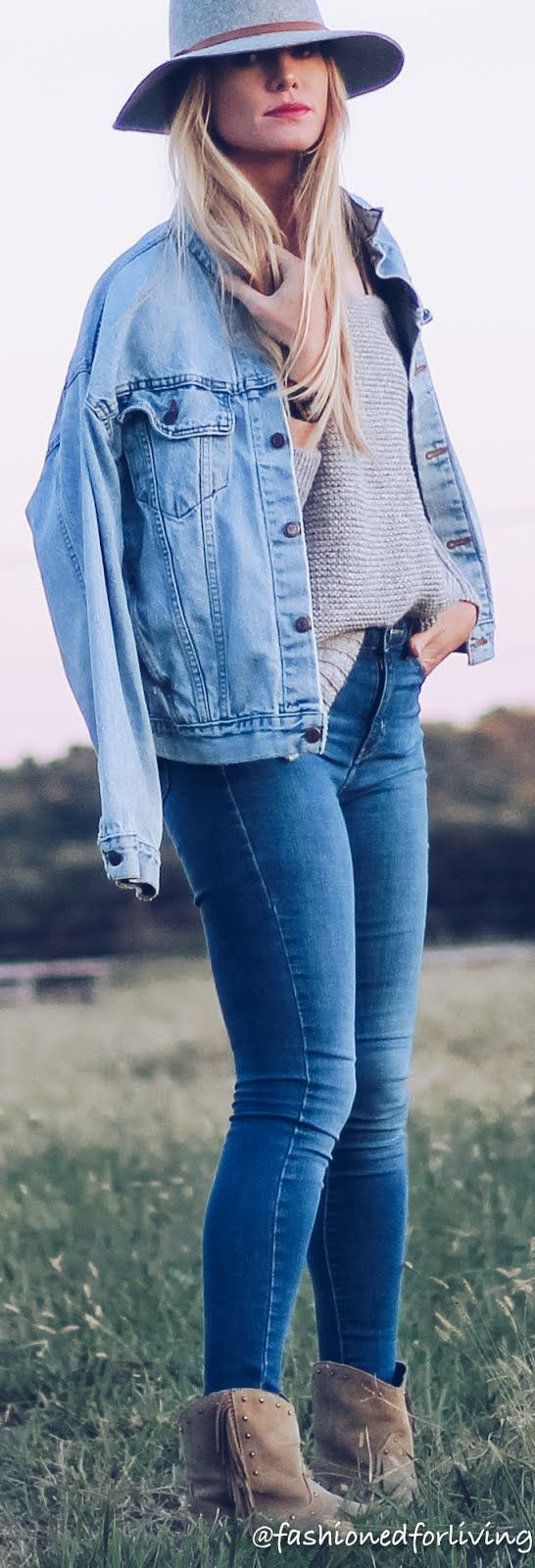 Fall Cowgirl Boots Outfit With Denim Jacket And Oversized Sweater Fall Denim Jacket Casual Denim Jacket Fall Denim [ 1600 x 546 Pixel ]