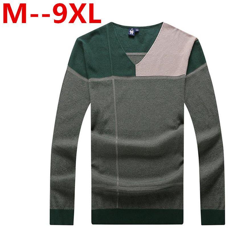 9XL 8XL 7XL 6XL 5XL Pure cotton sweaters men best style V neck ...