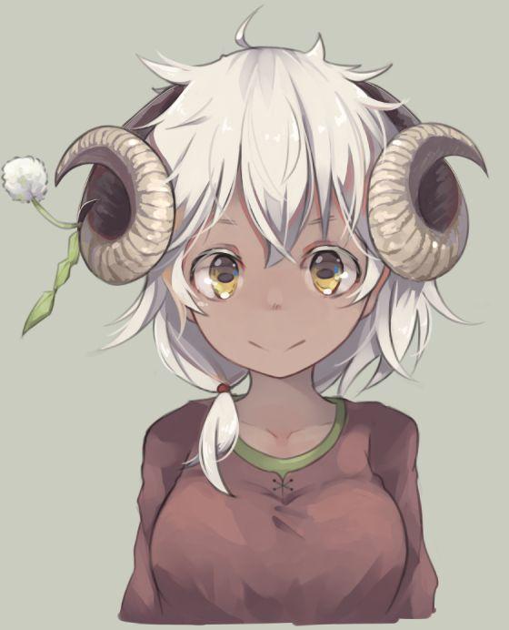 Tags Ahoge Dark Skin Horns Short Hair Smile White Hair Yellow Eyes Artist Maki Hitsuji Black Anime Characters Anime Art Dark Anime