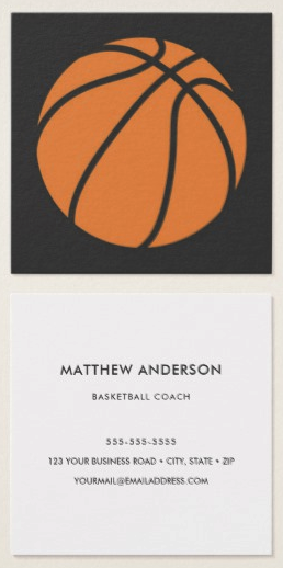 Basketball Business Cards Dark Gray And Orange Business Cards