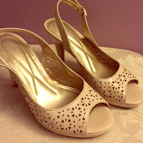 Nude/beige sling backs heels Nude/beige sling backs heels. Worn once like new Dress Barn Shoes Heels
