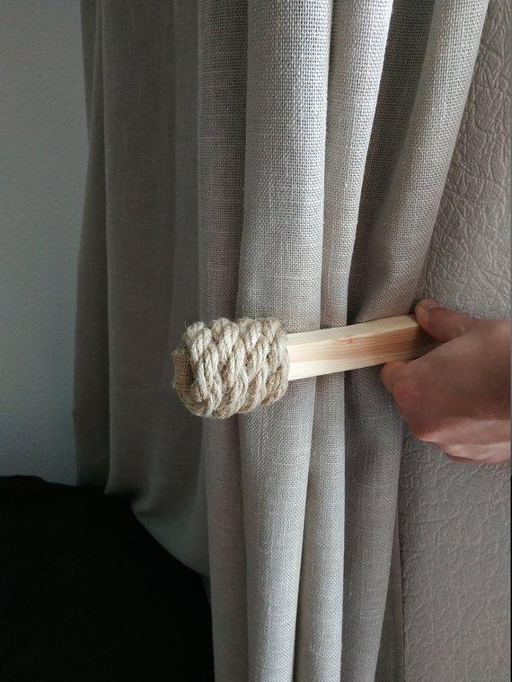 Wooden Curtain Tie Back Hook Curtain Tie Backs Gypsy Décor