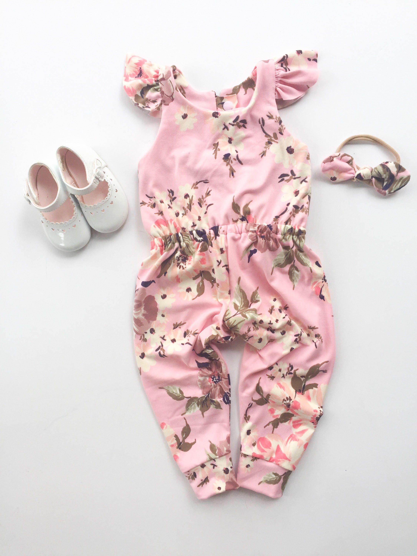 US Newborn Kids Baby Girl Floral Romper Jumpsuit Bodysuit Clothes Outfit Summer