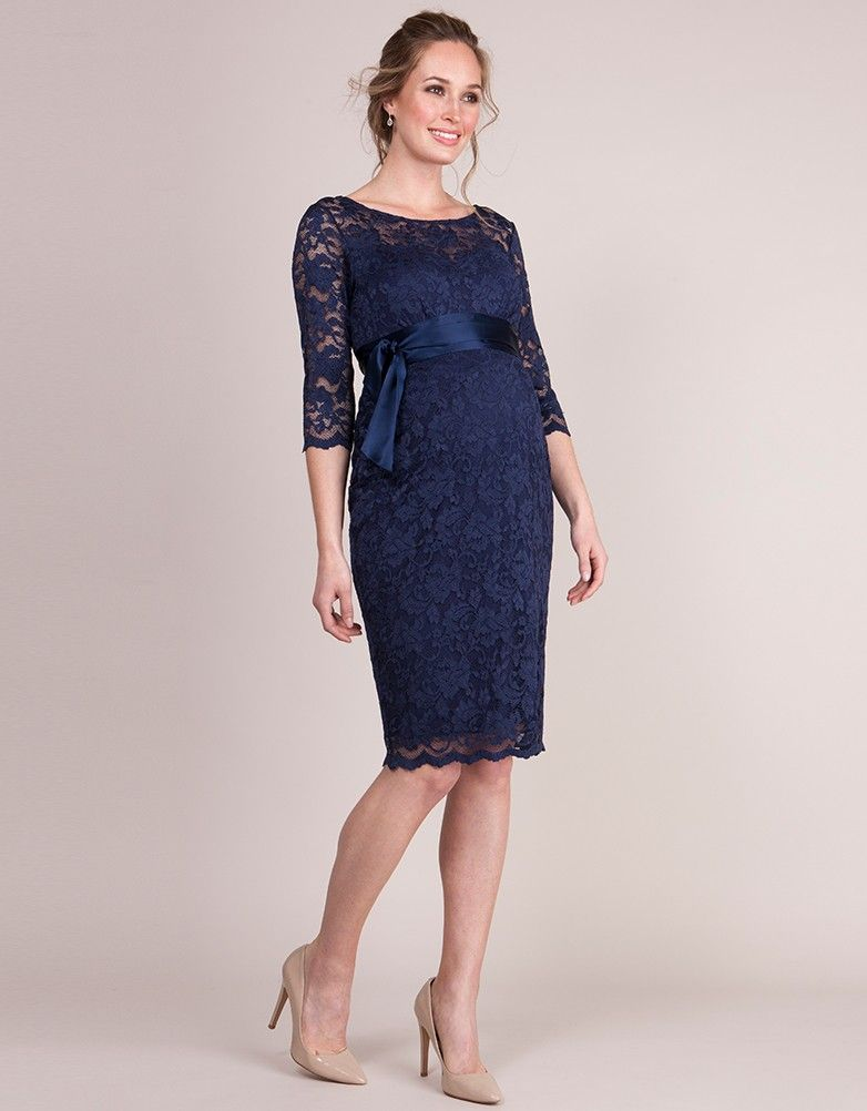8164846409 Navy Blue Lace Maternity Cocktail Dress in 2019