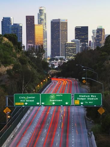 Pasadena Freeway Ca Highway 110 Leading To Downtown Los Angeles California United States Of Ame Photographic Print Gavin Hellier Allposters Com Downtown Los Angeles Pasadena Los Angeles