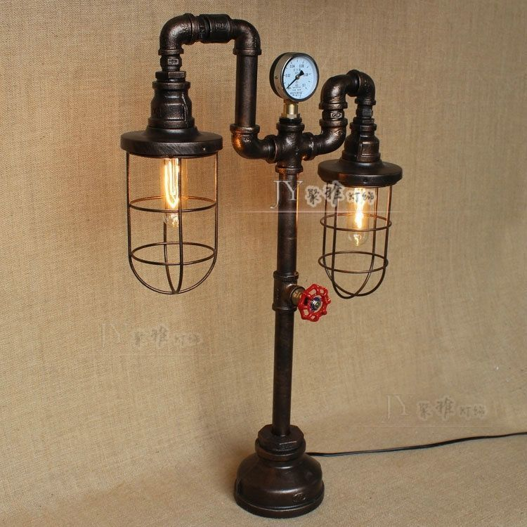Industrial Water Pipe Reading Desk Table Lamp Valve Antiqued Black Finish Light