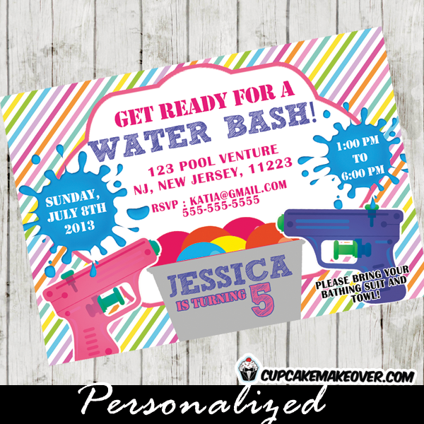 Water Bash Party Invitation For Girls